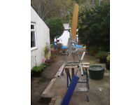 Aries wind vane self steering with fold up rudder and mountings.