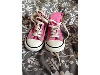 Pink converse hi tops