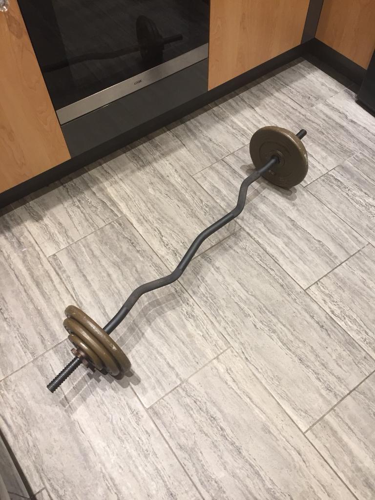 22 kg cast iron weights and ez bar/curl bar