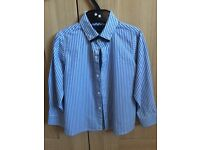 Boys smart blue and white striped shirt aged 4