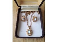 Vintage gold plated aquamarine necklace and earring set.