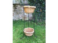 Wrought Iron and Wicker Basket Plant Stand/Decorative Stand
