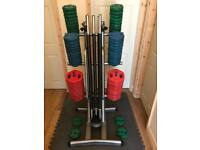 Bodymax Rubber Weights 192.5kg - 11 Bars - Stand