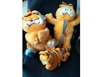 4 Garfield Cat Soft Toys Teddies, small-medium, Collectors - limited edition