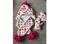 Baby Gap Girls Hearts Sherpa Lined Hat Scarf Mittens Gloves S/M