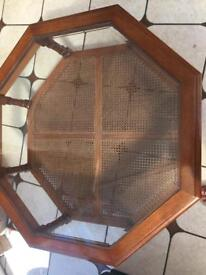 Octagonal coffee table glass top