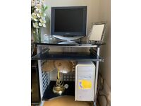 Stand Computer unit table desk wheels trolley office glass black storage