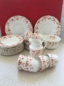 """Antique Vintage China Tea Set by SF & Co of Stoke-on-Trent, Reddish Brown """"Jersey"""" Floral pattern"""