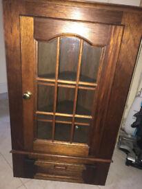 Vintage Oak Corner Cupboard for Wall - 90cm high (includes secret compartment)