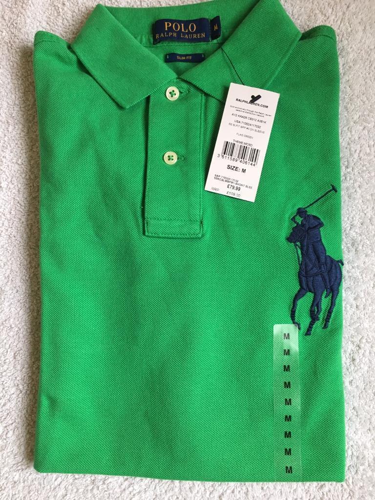 4daef25cac2 Ralph Lauren Mens Polo Shirt Green Big Navy Pony Short Sleeve Medium RRP  £109