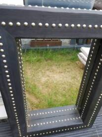 BLACK LARGE STUDDED CHUNKY WOODEN MIRROR