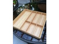 3x Solid wood/bamboo drawer orginizers, cutlery/utensil trays from Ikea, like new