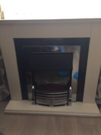 White fire surround with heater