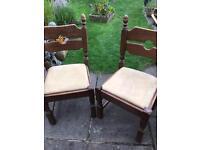 2 Solid Oak Fireside Chairs