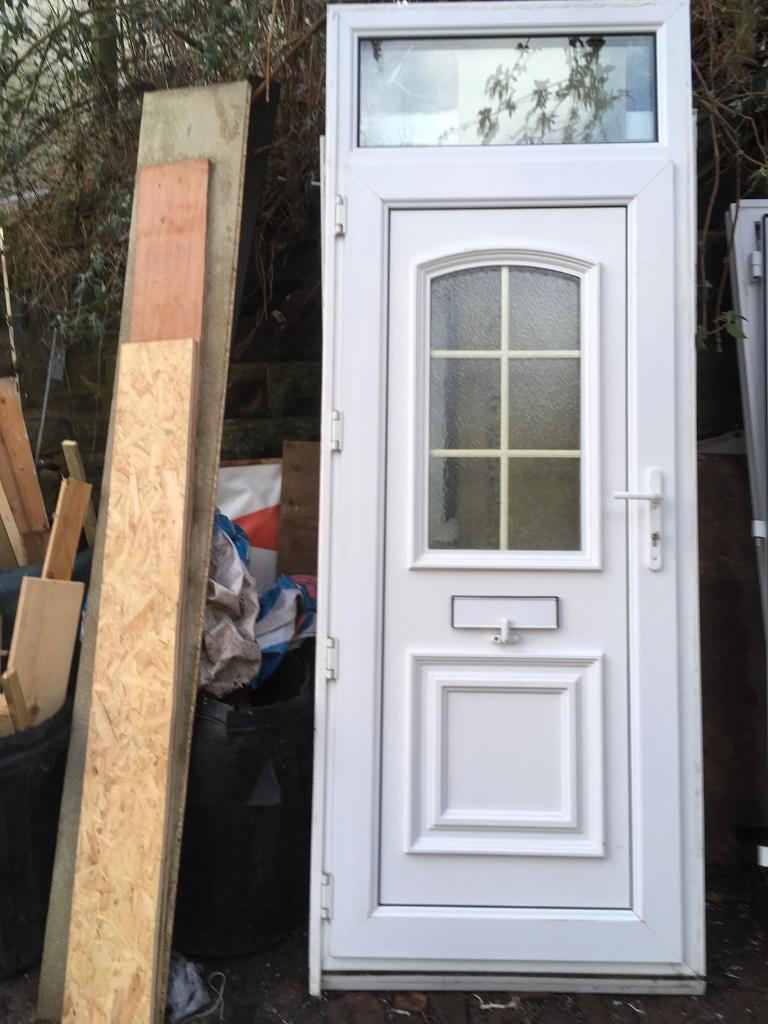 White Upvc Front Door With Skylight In South Shields