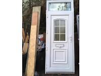 White upvc front door with skylight
