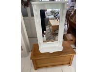 White wooden shelf mirror