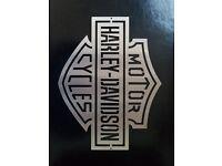Harley Davidson Sign, Decals, Emblem. Brushed Stainless Steel