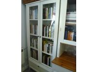 Ikea Hemnes white bookcase with drawer and glass doors