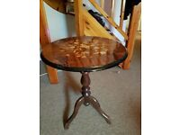 Pretty inlaid wood occasional table