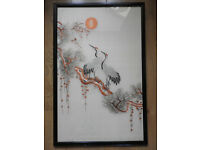 Large size of a Chinese embroidery picture , framed, glazed