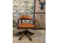 Tan Leather Captains Swivel Office Chair