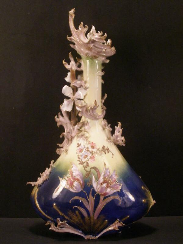 #1 19 c Art Nouveau Carlsbad Austria Pottery Wahliss RStK Enamel Flower Urn Vase