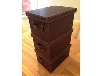 Set of 3 John Lewis Faux Leather Storage/Keepsake Boxes