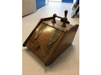Victorian Vintage Wooden Coal Scuttel with Shovel and Decorative Metal Trim
