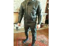 Leather jacket and trousers. Leathers