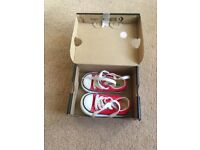 Girls red size 4 converse trainers