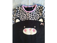 Girl's bodysuit,3-6 months,100% polyester,black & off white,cat logo, with cap.