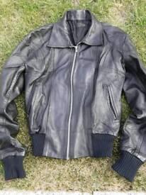 Black bomber jacket.