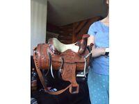 Leather horse saddle bag