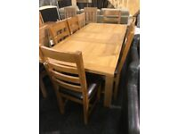 Solid oak extend table and six oak chairs
