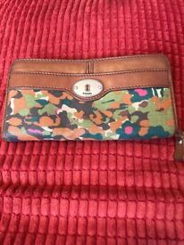 Large leather and camo fossil Purse