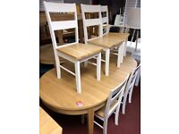 Oval Table and 6 White/ pine chairs