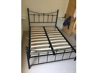 Metal double bed frame - black
