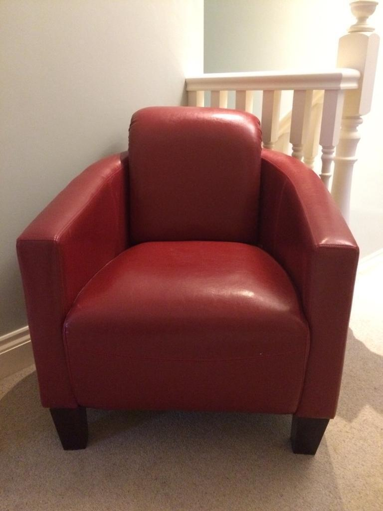 Sofa Red Faux Leather 2 Seater Sofa And Two Matching