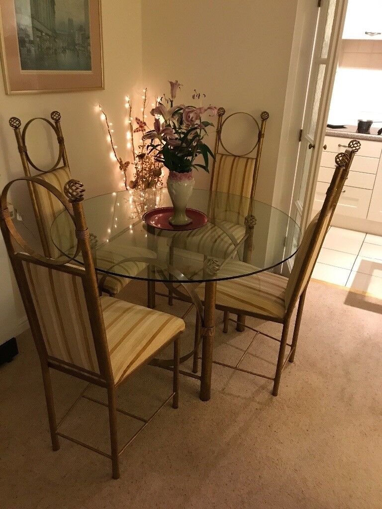 Cousins Glass Table With 4 Gold And Cream Chairs OPEN TO REASONABLE OFFERS