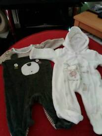 Baby snow suit and velvet outfit