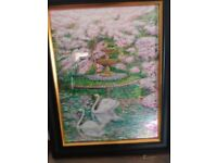 Pastel paintings with frame and glass