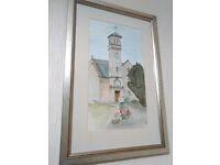 Framed, Glazed, Original watercolour of Colinton Parish Church, Dell Road, Colinton, Edinburgh