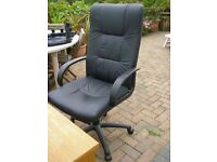 OFFICE SWIVEL CHAIR COMPUTER CHAIR BLACK FAUX LEATHER NICEDAY SWIVEL CHAIR ON WHEELS