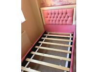 Girls faux leather pink crystal bed
