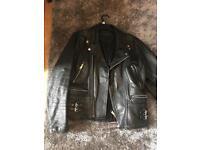 Black leather vintage biker jacket