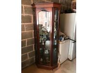 Corner Glass Wooden Display Lighting Cabinet