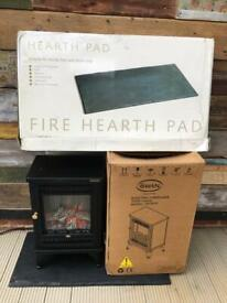 New Swan Electric Fireplace & Hearth Pad