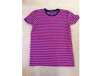 Women's Ralph Lauren Women's Pink and Navy Blue striped T-shirt size medium in excellent condition