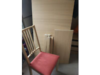 Table 4 to 8 seater, with 4 chairs (IKEA)